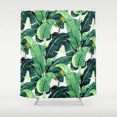 + Martinique vintage banana leaves shower curtain. Trendy boho bathroom decor  - tropical leaf pattern - beverly hills don loper wallpaper design