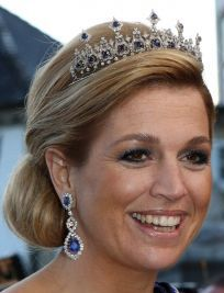 Sapphire Parure Necklace Tiara and Earrings worn by HRH Princess Maxima of the Netherlands (wife of HRH the Prince of Orange, heir to the Dutch throne)
