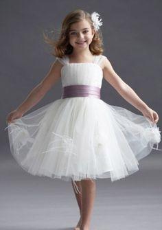 Flower Girl Dresses Ivory tulle knee length dress with wisteria duchess  satin cummerbund sash. Tulle and feather flowers on skirt. 8400b16b224d