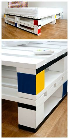 #Bedroom, #Mondrian, #Paint, #PalletBed The cube room is a concept room by Fabian Gatzemann based on colored cubes for an Design Hostel called Die Wohngemeinschaft in Cologne, Germany. One of the masterpiece of this room is the bed made with shipping pallets painted like one of Piet #palets #reciclado #reused