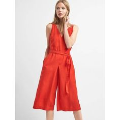Gap Women Sleeveless TENCEL Culotte Jumpsuit (€74) ❤ liked on Polyvore featuring jumpsuits, poster red, regular, sleeveless jumpsuits, jump suit, white sleeveless jumpsuit, gap jumpsuit and red jumpsuit