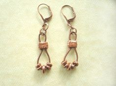 Leather and Copper Dangle Earrings. by SonseraeDesigns on Etsy, $22.00