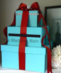 tiffany blue wedding  | tiffany blue theme tiffany blue base with red satin ribbon size 3 tier ...