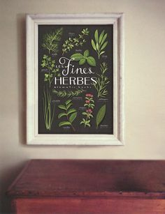 Les Fines Herbes print in frame, £25.69, http://www.etsy.com/listing/85074134/fines-herbes-aromatics-culinary-herbs