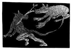 Dos perros peleando por una rama. Alfredo Benavidez Bedoya
