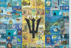 Barbados flag stamp collage by Rachel Markwick