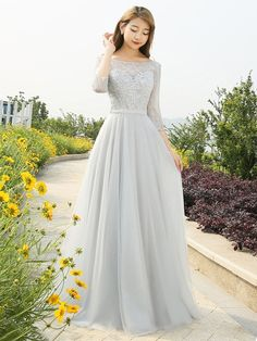 A-line Scoop Neck Lace Tulle Appliques Lace Floor-length 3/4 Sleeve Backless Prom Dresses #UKM020103479