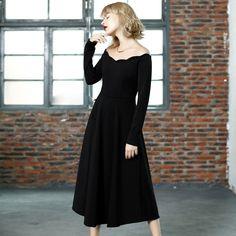 Women Vintage Style 2016 Spring Summer Longqibeauty Women Slash Neck Long Sleeve Off Shoulder A-Line Bodycon Black Dress