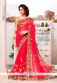 Attractive Red Color Georgette Fabric Party Wear Designer Saree