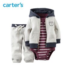 Carter's 3 stuk grijs pak Trui Broek Katoen met capuchon en turnpakje   Baby en Kinderspullen