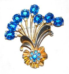 Stunning Vtg Pennino Aqua Openback Rhinestone Goldplated Floral Spray Brooch Pin | eBay