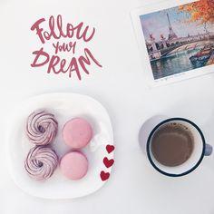 #paris #france #dream #followyourdream #cup #coffee #macarons #flatlay