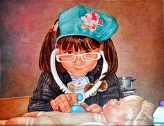 JUGANT A METGES (2015) RETRAT 35X45cm OLI SOBRE FUSTA ENTELADA  #barcelona #mercearmengol #artista #ilustradora #pintora #cuento #infantil #retrato #retratoporencargo