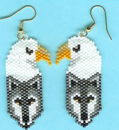 Here is a lovely pair of Hand Beaded Gray wolf, Bald Eagle dangling earrings. They measure 1 x They were designed by Mary Hipple and beaded by me in a smoke free home. I do combine shipping. Beaded Earrings Patterns, Seed Bead Patterns, Beading Patterns, Bracelet Patterns, Seed Bead Jewelry, Seed Bead Earrings, Seed Beads, Beadwork Designs, Bead Loom Bracelets