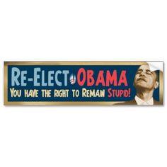 Re-Elect Obama, Stupid! Car Bumper Stickers, Presidential Candidates, Obama, Stupid, Presidents, Nerd, Politics, Lol, Funny