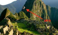 Machu Pichu and UFO seen over it.