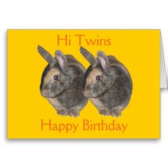 Twins, rabbit photo, birthday card