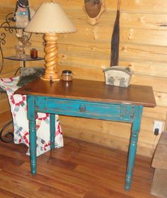 Distressed Rustic Blue Table / Desk with a Leather Look Aged Top and a Star / Horseshoe Pull -  follow me on Facebook www.facebook.com/TinasTakeOver