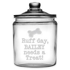 Mason Jar Crafts, Mason Jars, Crafts With Glass Jars, Glass Craft, Dog Treat Jar, Dog Treat Container, Animal Projects, Pet Treats, Vinyl Projects