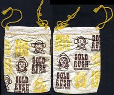 Here's an original Gold Rush bubble gum bag. I have a great appreciation for this bubble gum brand from Topps, and as a kid I really dug the bags it came in. I'd love to have a display box set up with bags. Old Sweets, Vintage Sweets, Retro Sweets, 1970s Childhood, Childhood Memories, Sweet Memories, Bubble Gum Brands, Sweet Wrappers, Nostalgia 70s