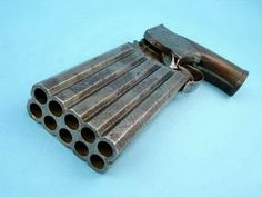 Rare and Unique Jones Patent 10-Shot Percussion Pepperbox Pistol, c. 1860, .36 caliber, 10-shot two 5-shot vertical stacked barrels, each barrel with individual nipple. Boxed action designed to fire each round sequentially by pulling the trigger. Walnut grips. Condition: Good. Steel showing wear, pitting and age patina. Grips very good. Action needing repair. Appears in 11/6/2006 auction