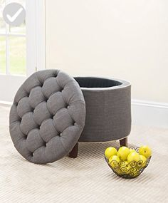 Safavieh Amelia Tufted Storage Ottoman, Charcoal - Improve your home (*Amazon Partner-Link)