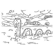 Loch Ness Monster colouring page | Monster coloring pages ...