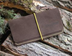 Suede Clutch/ Brown Leather Slim Wallet For Men/ Handmade Clutch Bag/ Minimalist Hand Stitched Clutch Purse  Three Snails  Free Shipping