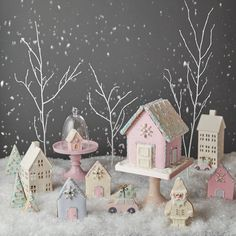 Inspired by the pretty pastel coloured houses found in West London, this luxury candy coloured gingerbread house is sure to delight anyone who sets eyes on it. With a heavenly scent of sugar and spice, each house has been painstakingly iced to perfection Christmas Gingerbread House, Noel Christmas, Pink Christmas, Gingerbread Houses, Xmas, Christmas Cupcakes, Christmas Desserts, Christmas Baking, Peggy Porschen Cakes