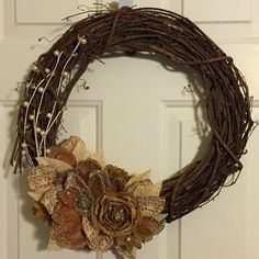 Burlap, pearls, and lace wreath!