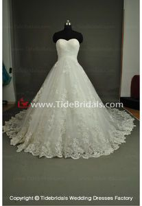 NEW!! Strapless Ball gown Lace up back wedding dress Lace Tulle Bridal gown #AS3706B