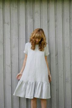the fabrics of life Linen Frill Dress Loose Fit Dress Light Grey Linen Dress Frill Dress, Blouse Dress, Bodycon Dress, Linen Dresses, Tight Dresses, Loose Fit Dresses, Short Dresses, Prom Dresses, Dress Outfits
