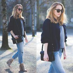 American Apparel Bomber Jacket, Rebecca Minkoff Hudson Moto Mini Bag, Gap Jeans, Ash  Booties, Céline Sunnies