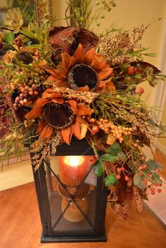 Great idea for fall lanterns. Would be beautiful for a wedding or party