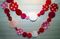 valentine garland in polka dot felt