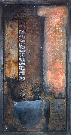 "Darlene Charneco     'La Ventana' from The Heavy Page series 1993-1996,  (found steel and painted wood.) 51"" x 26"""