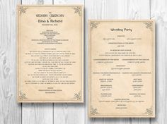 Order of Service Template | wedding order of services | Pinterest ...