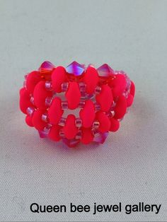 neon super duo beaded ring hot pink ring by queenbeejewelgallery, $25.42
