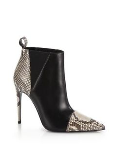 GUCCI Daisy Leather & Snakeskin Ankle Boots. #gucci #shoes #boots