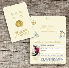 Japanese Wedding  Invitations, like the passport idea...