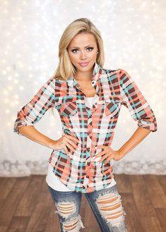 Top Pick Flannel Top Pink/Brown