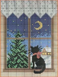 Cat cross stitch.