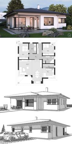 Bungalow house modern with hipped roof architecture & 3 rooms floor plan rectangular, 125 sqm with bay window & . roof Bungalow house modern with hipped roof architecture & 3 rooms floor plan rectangular, Modern Bungalow Exterior, Modern Bungalow House, Bungalow House Plans, Model House Plan, My House Plans, 2 Storey House Design, Village House Design, Simple House Design, Hip Roof