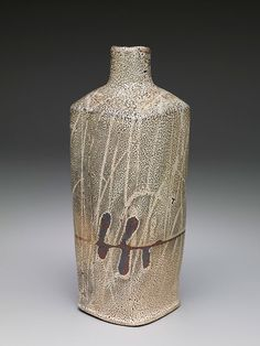 Randy Johnston Square vase, crackle shino glaze with iron slip, handprint resist, and wax resist brushwork Stoneware
