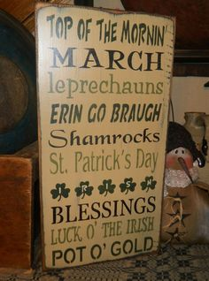 PRIMITIVE TYPOGRAPHY~~ST. PATRICK S DAY SIGN~LUCKY LEPRECHAUN~IRISH~SHAMROCKS~~