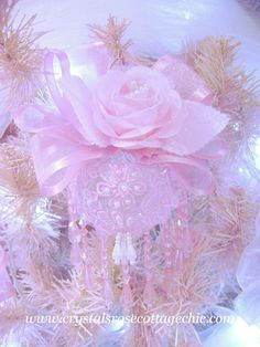 Pink Lace Rose Victorian Ornament