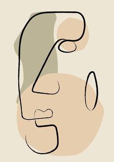 Minimal Face Line Art Print, Minimalist Printed Wall Art, Fine Line Abstract Artwork, Simple Drawing Decor, Scandinavian Bedroom Poster. Abstract Face Art, Face Lines, Minimalist Art, Minimalist Poster, Art Auction, Easy Drawings, Artwork Prints, Line Art, Portraits