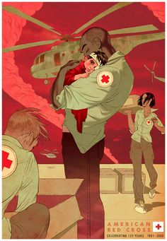 Safe - Tomer Hanuka art for the American Red Cross, anniversary celebration. Critique- I love how this shows the support that red cross gives to people. Showing different races and sexes in the same poster brings a sense of unity as well. American Red Cross Volunteer, Tomer Hanuka, Vector Art, Illustrators, Cool Art, Concept Art, Character Design, Illustration Art, Animation