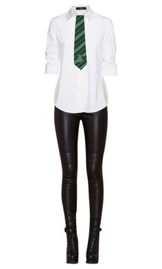 """Slytherin Uniform #2"" by mariaburned on Polyvore featuring Steffen Schraut"