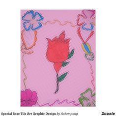 Special Rose Tile Art Graphic Design Letterhead #beautiful #amazing #stuff and gift #products #sold on #zazzle